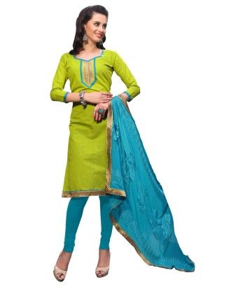 Green Exclusive Dress Material With Embroidery Fancy Dupatta - Riti Riwaz