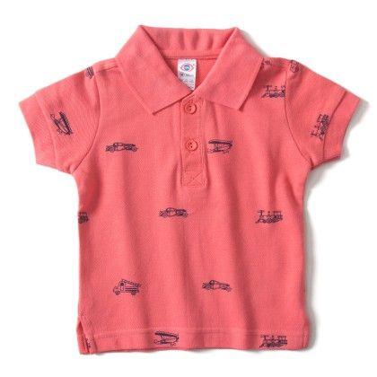 Pink   Collar  T-shirt With Print - ZERO