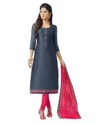 Unstitched Dress Material Navy & Pink - Riti Riwaz