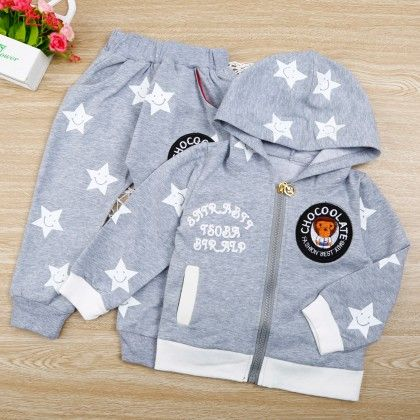 Star Print Gray Hoodie And Pant - 2 Pcs Set - Chirpy Frost