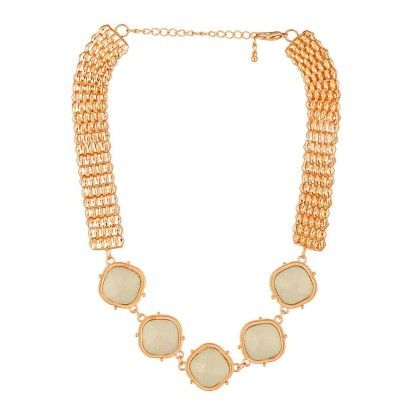 Gold Gloss Beaded Statement Necklace - Voylla