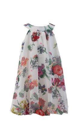 Ivory Georgette Bib Neck Line Casual Dress - Magic Fairy