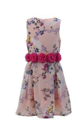 Peach-pink Georgette Floral Print Dress - Magic Fairy