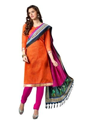 Orange Exclusive Dress Material With Bhagalpuri Silk Fancy Dupatta - Riti Riwaz