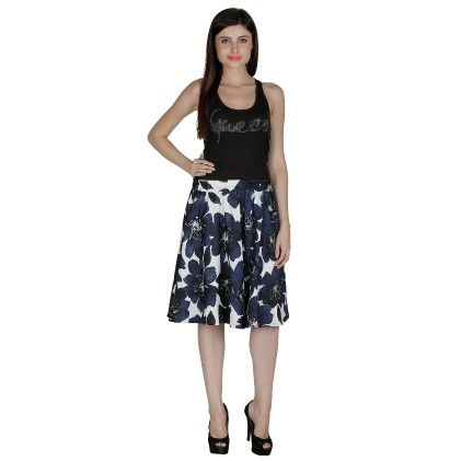 Shopingfever Floral Print Womens A-line Skirt White