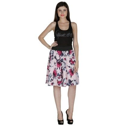 Shopingfever Floral Print Womens A-line Skirt Pink