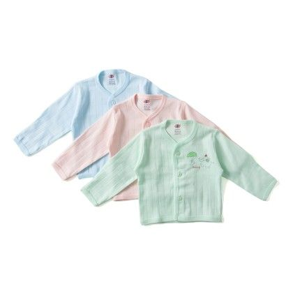 Full Sleeves Front Closer T-shirt Set Of 3 - Blue, Green, Peach - ZERO