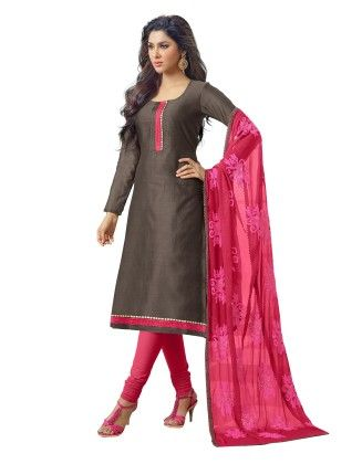 Unstitched Dress Material Dark Brown & Pink - Riti Riwaz