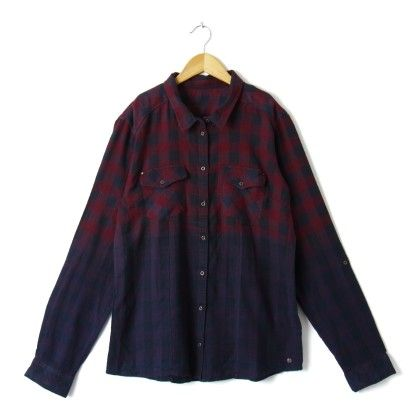 Warm Check Shirt - Red Navy Blue - STUPA FASHION
