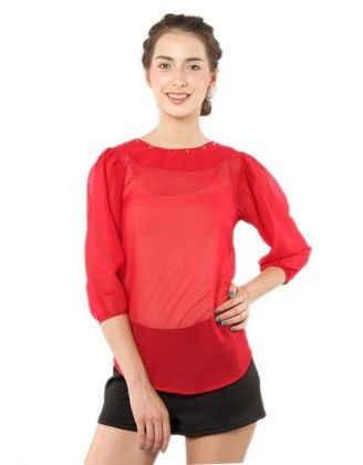 Studded Round Neck Top Red - XNY