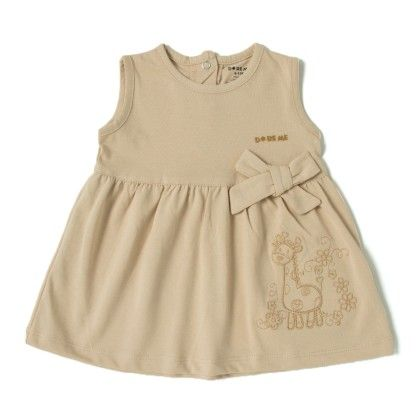 Giraffe Embroidery Beige Cotton Frock - Do Re Me