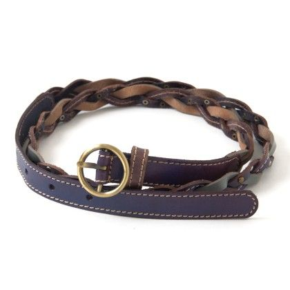 Leather Belt Navy Blue With Grey Crossing - Ribbon