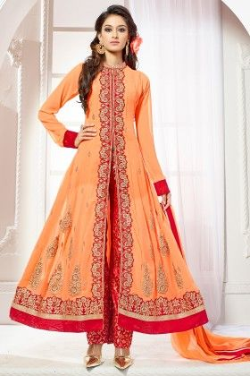 Orange Georgette Dress Material - Touch Trends Ethnic