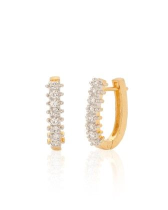 Voylla Gold Plated Hoop Earring Pair With Cz