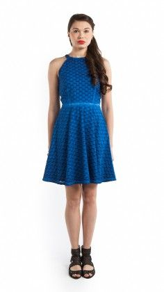 Halter Neck Washed Schiffli Dress - S Buys