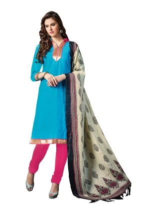 Sky Blue Exclusive Dress Material With Bhagalpuri Silk Fancy Dupatta - Riti Riwaz