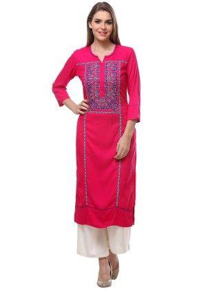Pink Kurta With Round Neck Three Quarter Sleeves - Riti Riwaz
