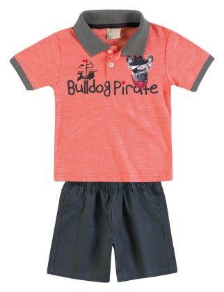 Bulldog Pirate Set - Polo & Shorts - Peach - Milon