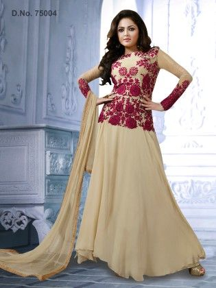 Beige - Georgette Dress Material - Touch Trends Ethnic