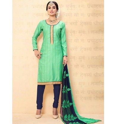 Green Navy Blue Chanderi Dress Material - Green Navy Blue - Volono