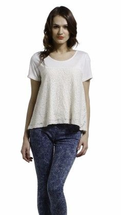 Ivory Lace Swing Tee - S Buys