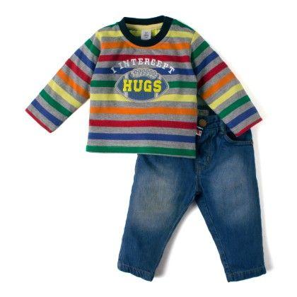 Multi Stripe Top With Fine Denim Full Pant - Stripes - TOFFYHOUSE