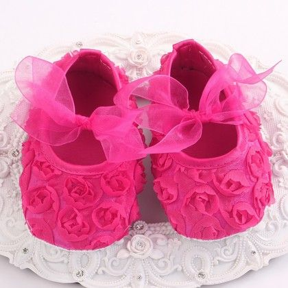 Bright Pink Baby Girls Shoe With Rose Design - Angel Closet