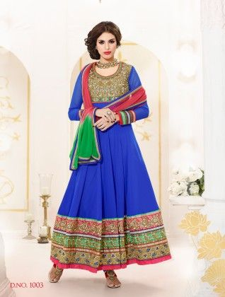 Blue-georgette Dress Material - Touch Trends Ethnic