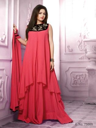 Red -georgette Dress Material - Touch Trends Ethnic