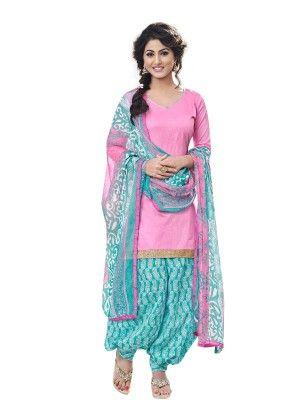 Pink Exclusive Cotton Satin Printed Dress Material With Matching Dupatta - Riti Riwaz