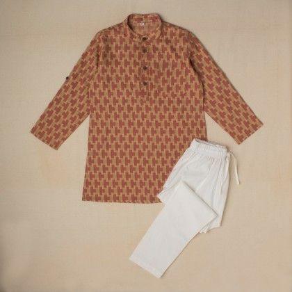 Brown Organic Cotton Herbally Dyed Kurta And White Organic Cotton Pyjama - Medini