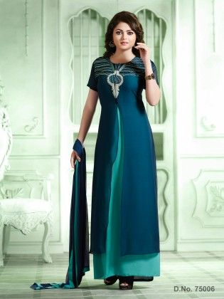 Blue Georgette Dress Material - Touch Trends Ethnic