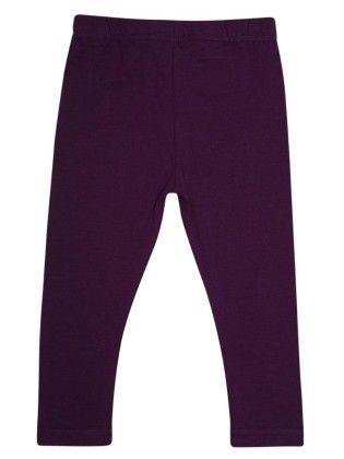 Girls Ankle Length Leggings Solid Dark Purple - De Moza