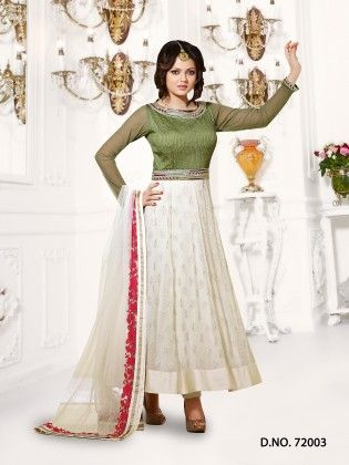 Off White Georgette Dress Material - Touch Trends Ethnic