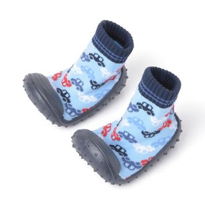 Finger Hard Cover Booties Black & Sky Blue With Car Print - Janya