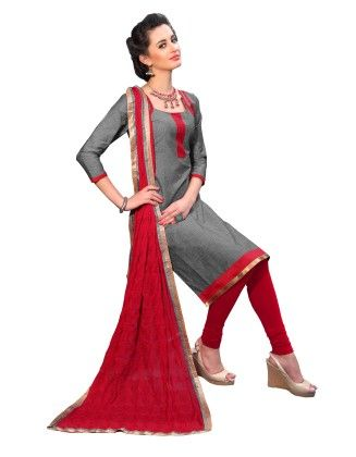 Gray Exclusive Dress Material With Embroidery Fancy Dupatta - Riti Riwaz