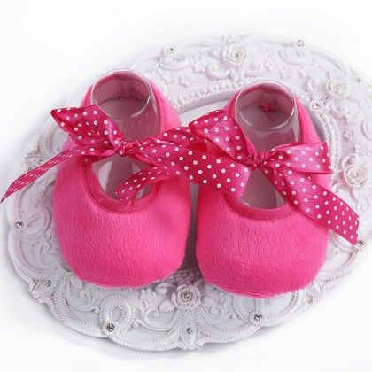 Bright Pink Baby Girls Shoe With Ribbon - Angel Closet