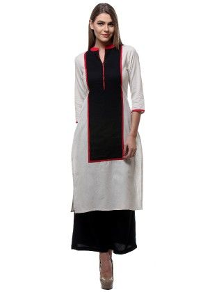 Off-white And Black Solid On Solid Rectangle Kurta - Riti Riwaz