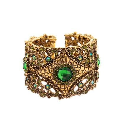 Gold Glaze Green Women's Cuff Bracelet - Voylla