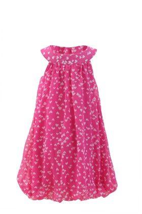 Candy Pink Georgette Bib Neck Line Casual Dress - Magic Fairy