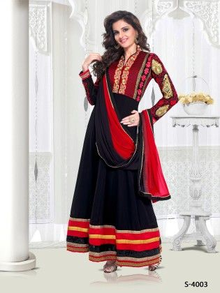 Black Faux Georgette Dress Material - Touch Trends Ethnic