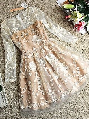 Short  Dress With Lace Work - Drape In Vogue