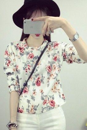 White Flower Print  Top - Drape In Vogue