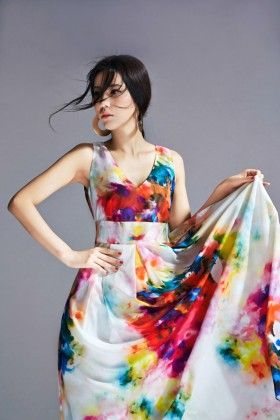 Floral Print Long Dress - Drape In Vogue - 254509