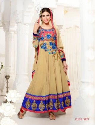 Beige-georgette Dress Material - Touch Trends Ethnic