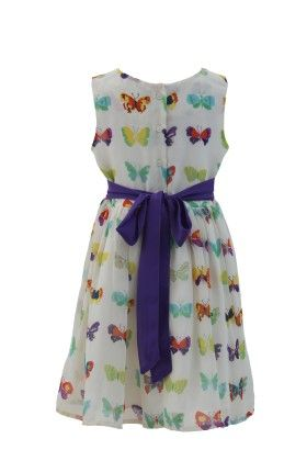 Ivory-purple Georgette Butterfly Printed Dress - Magic Fairy