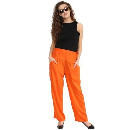 Shopingfever Orange Trouser With Side Zipper