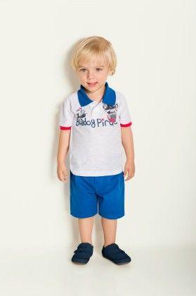 Bulldog Pirate Set - Polo & Shorts - White - Milon