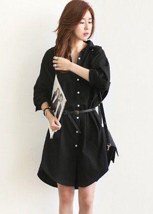 Stylish Black Shirt Dress - Drape In Vogue