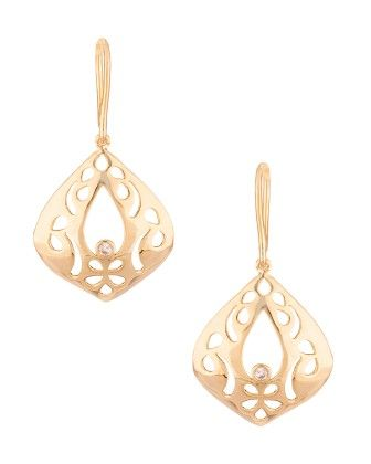 Voylla Gold Toned Leafy Style Earring Pair